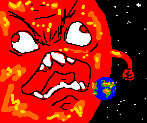Red giant sun burning earth with angry intent! (drawing by ...