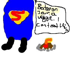 Superman and batman go camping, argue about food
