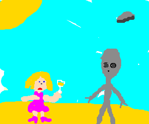 A woman sipping martinis in an alien presence