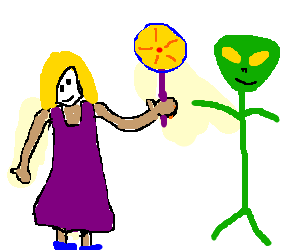 Little girl offers candy to alien; seaks peace.