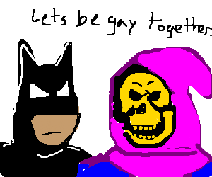 skeletor and batman go on a drawception quest.