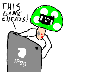 an iPod playing a mushroom