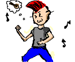 Punk playing air guitar