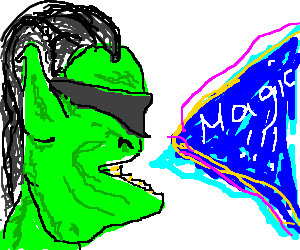 Masked orc shouts spell.