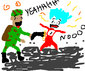 ecstatic soldier tases thing 1 in a tar pit