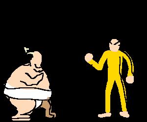 Sumo wrestler gives Bruce Lee a massage