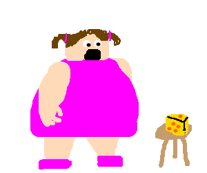 Fat girl startled by triangle cheese on stool