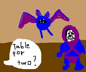 Skeletor and Zubat come for dinner.