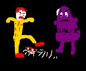 Ronald McDonald and Grimace attack Hamburglar