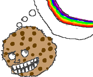 Furry chocolate chip cookes crave rainbows.