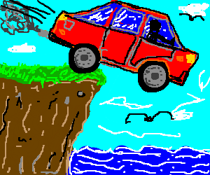 red car drives off a cliff into the ocean