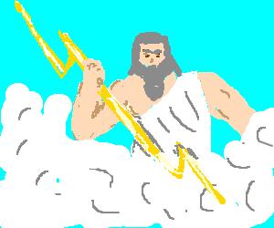 Zeus throws a lightning bolt