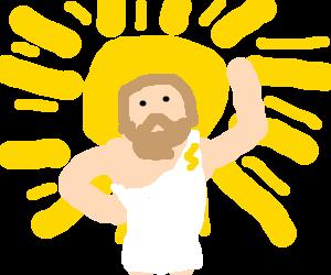Zeus posing in front of an undergoin' sun.