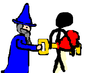Old wizard impales stickman with a giant key.