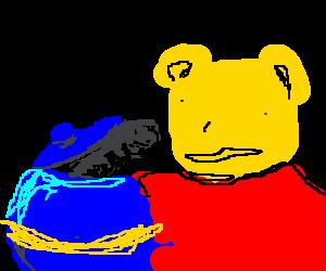 Winnie the Pooh discovers microphone in huneyjar