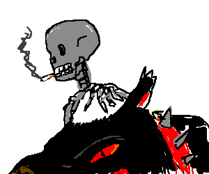 skeleton with cigarette and his demon dog