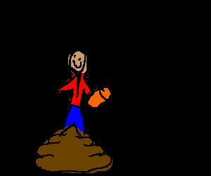Wayne Static endorses soda; standing in poop.