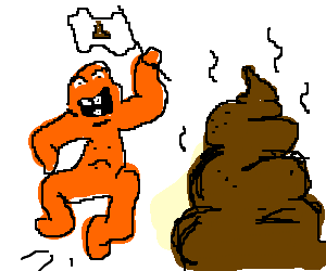 Orange guy is absurdly excited by a pile of poo.