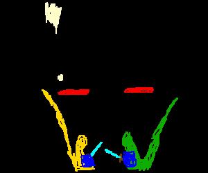 Two men having a vomit battle