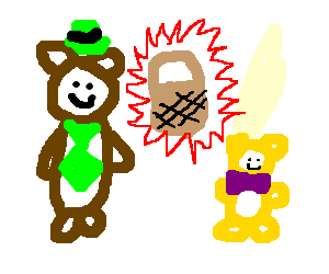 Yogi bear and Booboo steal a pick-a-nick basket