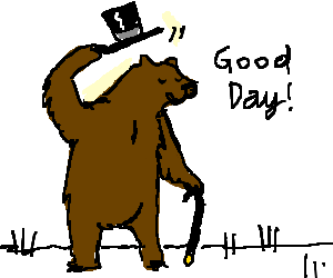 Gentleman bear with a cane tips his hat