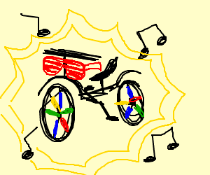 Bicycle getting its rave on