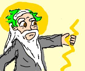 Zeus hands lightning bolt to someone offscreen.