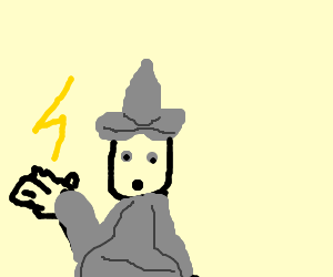 Gandalf confused by a lightning bolt in his hand