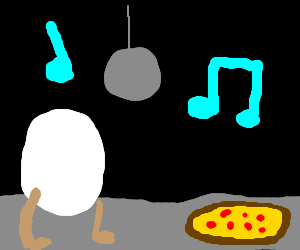 Egg w/ legs and pizza; pizza can't dance