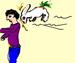 Bunny w/ a carrot-vine tail floats against a guy