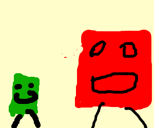 baby green box chases red deadbeat daddy box