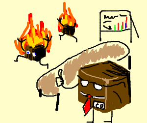 Box men on fire at meeting. the boss is ok