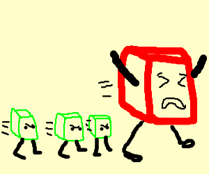 three green cubes trying to get a big red cube