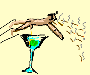 Nude man leaps martinis, giant puking cigar wows