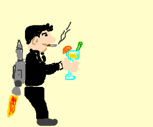 flying man pee on martini glass spits cigarrets