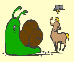 blonde centaur curses large green snail