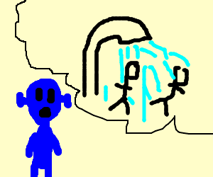 Blue alien thinks pope needs a shower