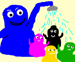 Happy Blue Barbaba is washing his children