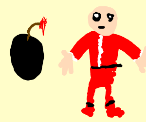 Santa stares down a bomb from final fantasy