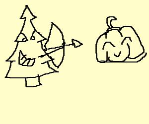 Xmas tree launches arrow assault on Mr Pumpkin