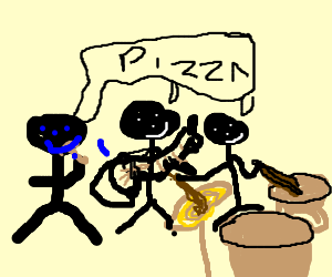 boy band thinks of pizza