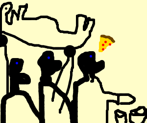 3 black men eat pizza, hold llama, play bongo's