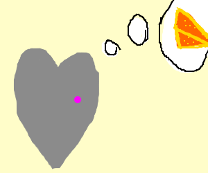 grey heart with pink spot thinks of cheese