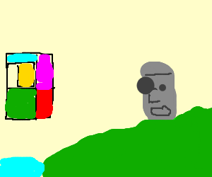 Easter Island head shocked by abstract art