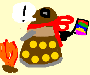 flamboyant dalek excited by fire