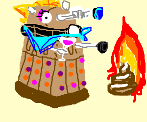 Gay Dalek Surprised by burning turd