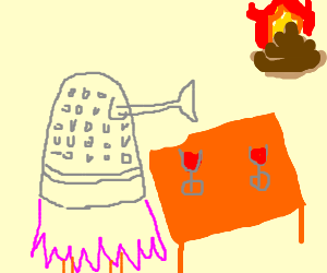 girl dalek enjoys wine with burning poo