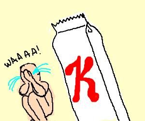 Nudist saddened by enormous Special K snackbar.