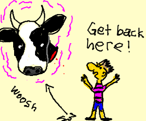 Magical cow head escapes from strange yellow man