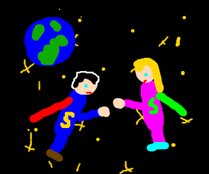 Superwoman and bald superman fighting in space